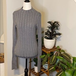 Theory Wide Ribbed Mock Neck Sweater